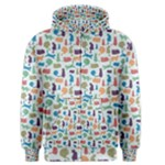 Blue Colorful Cats Silhouettes Pattern Men s Zipper Hoodie