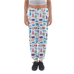 Blue Colorful Cats Silhouettes Pattern Women s Jogger Sweatpants by Contest580383