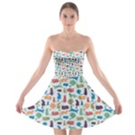 Blue Colorful Cats Silhouettes Pattern Strapless Bra Top Dress