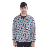 Blue Colorful Cats Silhouettes Pattern Wind Breaker (Men)