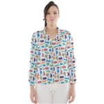 Blue Colorful Cats Silhouettes Pattern Wind Breaker (Women)