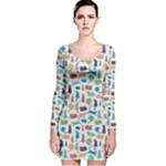 Blue Colorful Cats Silhouettes Pattern Long Sleeve Velvet Bodycon Dress