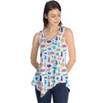 Blue Colorful Cats Silhouettes Pattern Sleeveless Tunic