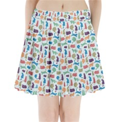 Blue Colorful Cats Silhouettes Pattern Pleated Mini Skirt by Contest580383