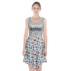 Blue Colorful Cats Silhouettes Pattern Racerback Midi Dress by Contest580383