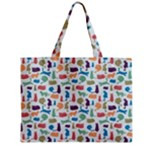 Blue Colorful Cats Silhouettes Pattern Medium Tote Bag