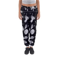 Black And White Floral Abstraction Women s Jogger Sweatpants by Valentinaart
