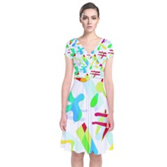 Playful Shapes Short Sleeve Front Wrap Dress by Valentinaart