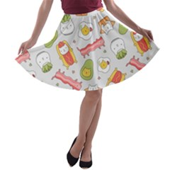 Funny Cat Food Succulent Pattern  A Line Skater Skirt by Mishacat