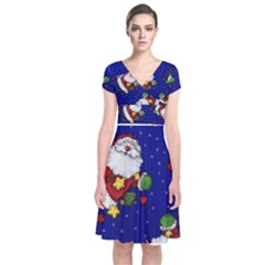 Blue Santas Clause Short Sleeve Front Wrap Dress