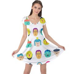 Face People Man Girl Male Female Young Old Kit Cap Sleeve Dresses by AnjaniArt