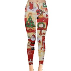 Santa Clause Mail Bird Snow Leggings  by AnjaniArt