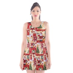 Santa Clause Mail Bird Snow Scoop Neck Skater Dress by AnjaniArt