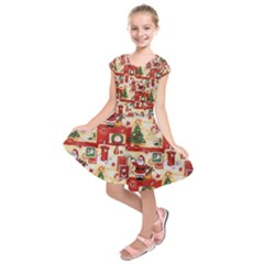 Santa Clause Mail Bird Snow Kids  Short Sleeve Dress