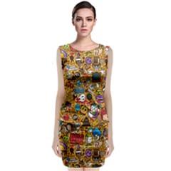 Retro Face Classic Sleeveless Midi Dress by AnjaniArt