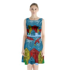 Xmas Landscape Sleeveless Chiffon Waist Tie Dress by Valentinaart