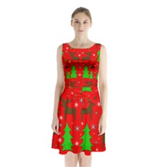 Reindeer And Xmas Trees Pattern Sleeveless Chiffon Waist Tie Dress by Valentinaart