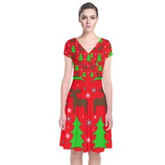 Reindeer And Xmas Trees Pattern Short Sleeve Front Wrap Dress by Valentinaart