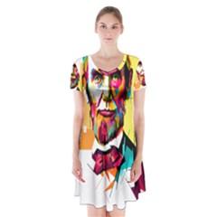 Abraham Lincoln Short Sleeve V Neck Flare Dress by bhazkaragriz