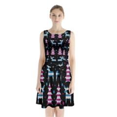 Blue And Pink Reindeer Pattern Sleeveless Chiffon Waist Tie Dress by Valentinaart