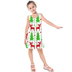 Reindeer Elegant Pattern Kids  Sleeveless Dress by Valentinaart