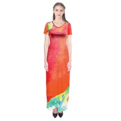 Lovely Red Poppy And Blue Dots Short Sleeve Maxi Dress