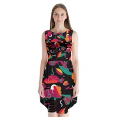 Colorful Abstract Art  Sleeveless Chiffon Dress   by Valentinaart
