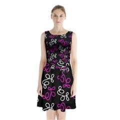 Elegance   Magenta  Sleeveless Chiffon Waist Tie Dress by Valentinaart