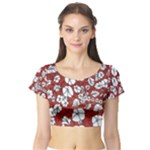 Cvdr0098 Red White Black Flowers Short Sleeve Crop Top (Tight Fit)