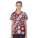 Cvdr0098 Red White Black Flowers Women s Cotton Tee