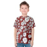 Cvdr0098 Red White Black Flowers Kids  Cotton Tee