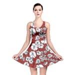 Cvdr0098 Red White Black Flowers Reversible Skater Dress