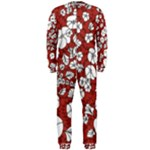 Cvdr0098 Red White Black Flowers OnePiece Jumpsuit (Men)