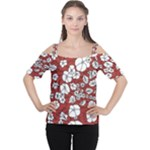 Cvdr0098 Red White Black Flowers Women s Cutout Shoulder Tee