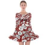 Cvdr0098 Red White Black Flowers Long Sleeve Skater Dress