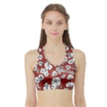 Cvdr0098 Red White Black Flowers Sports Bra with Border