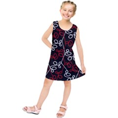 Elegant Red And White Pattern Kids  Tunic Dress by Valentinaart