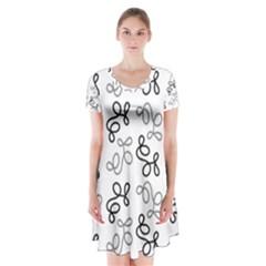 Gray Elegance  Short Sleeve V-neck Flare Dress by Valentinaart
