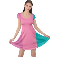 Pink Blue Three Color Cap Sleeve Dresses by AnjaniArt