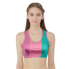 Pink Blue Three Color Sports Bra With Border by AnjaniArt