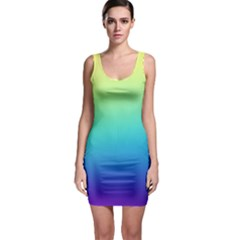 Purple Blue Green Sleeveless Bodycon Dress by AnjaniArt
