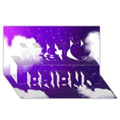 Purple Cloud Best Friends 3d Greeting Card (8x4) by AnjaniArt