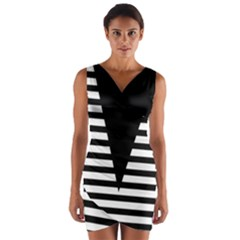 Black & White Stripes Big Triangle Wrap Front Bodycon Dress by EDDArt
