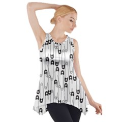Safety Pin Pattern Side Drop Tank Tunic by Mishacat