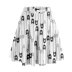 Safety Pin Pattern High Waist Skirt by Mishacat