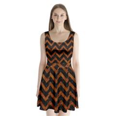 Chevron9 Black Marble & Brown Marble Split Back Mini Dress  by trendistuff