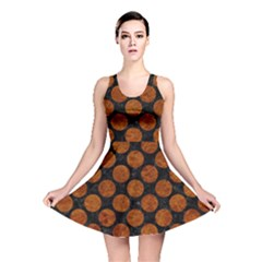 Circles2 Black Marble & Brown Marble Reversible Skater Dress by trendistuff