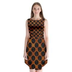 Circles2 Black Marble & Brown Marble (r) Sleeveless Chiffon Dress   by trendistuff