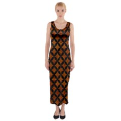 Circles3 Black Marble & Brown Marble (r) Fitted Maxi Dress by trendistuff
