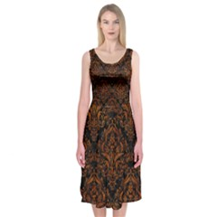 Damask1 Black Marble & Brown Marble Midi Sleeveless Dress by trendistuff